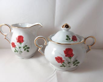 Viletta Fine China Red Rose Creamer & Sugar Bowl