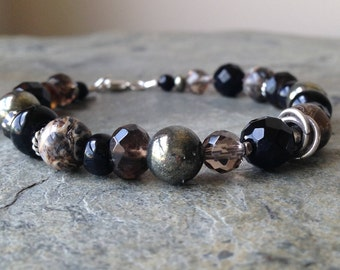 Smoky Quartz with Turritella Agate and Pyrite Beaded Bracelet with Silver Clasp