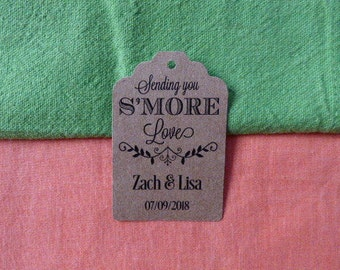 KRAFT SMORE love tag, Kraft Shower Tag. Thank You Tag. From my shower to yours tags. Favor Tags. Bridal Shower Tags. Set of 25 to 300 pieces