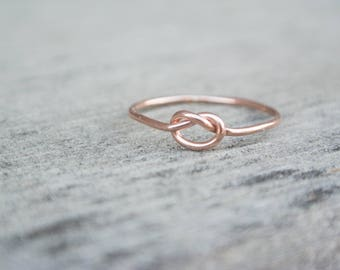 14K Rose Gold Filled Love Knot Ring Stacking 14 Karat Tie The Knot Ring Friendship Ring Best Friends Ring Bridesmaid Proposal Gift For Her