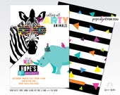 party animal birthday invitation, party animal invitation, zoo birthday invitation, neon birthday party, safari birthday invitation