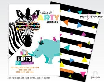 party animal birthday invitation, party animal invitation, zoo birthday invitation, neon birthday party, safari birthday invitation