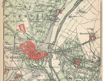 1924 St. Germain-En-Laye, Paris France Antique Map