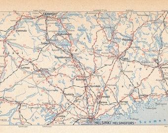 1963 Helsinki Finland Area Vintage Map