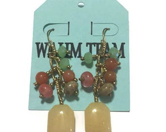 Beaded Gemstone Earrings, Drop Earrings, Dangle Earrings with Adventurine, Jasper and Citrine Gem Stones