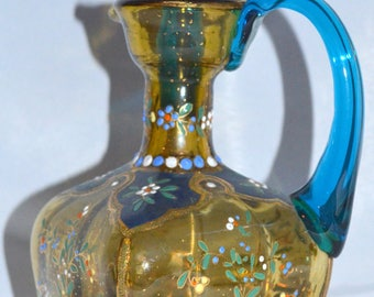 "Moser Art Glass Cruet Bohemian Enameled Hand Painted 9 1/4"" Tall"