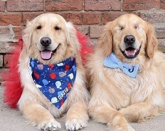 Summer Whales Bandana  || Patriotic Red White & Blue Reversible Scarf || Puppy Gift || Americana
