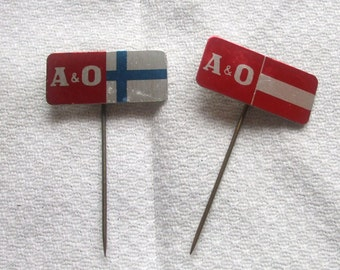 Two 1960's A & O Metal Stick Pins / Lapel Badges