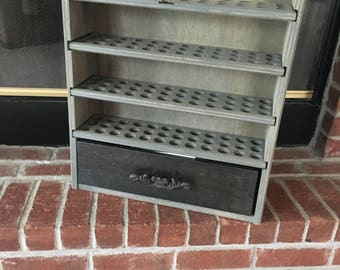 Essential oil storage shelf-144 count with drawer - stained/painted - Kari
