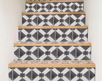 "Stair Riser Stickers - Removable Stair Riser Tile Decals - Riad Pack of 6 in Black - Peel & Stick Stair Riser Deco Strips - 48"" long"