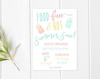 Pool Party Invitation, Summer Party Invitation, Barbecue Invitation, BBQ Invites, Summer BBQ Invitation, Pool Party Invitations, Party [500]