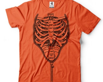 Scary Halloween Rib-cage Costume T-shirt Halloween Costume T-shirt Skeleton X-ray Rib cage tee