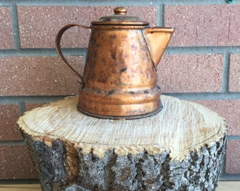 Gregorian Teapot, Coffeepot, Copper Patina, Signed Copper