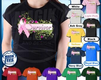 Breast Cancer Survivor Floral Pink Ribbon Awareness T-Shirt