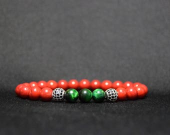 EXPRESS SHIPPING - Red Coral, Green Tiger eye & Diamond Ball Bead Bracelet, Mens Mala, Womens Yoga Bracelet, Valentine's Day Gift