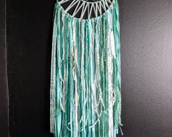 Crescent Moon Dream Catcher || Bead and Feather Accented || Teal Mint Dreamcatcher