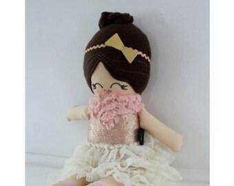doll handmade cloth, OLIVIA, cloth doll, fabric doll, rag doll, plush doll, heirloom doll, brown hair doll, ballerina doll, heirloom doll