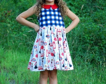 Girls, Back to School Dress, Gingham Dress, London, Summer, Picture, Blue, White, Red, Baby, Toddler, Tween, Junior, Big Girl, Church, Party