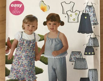 Simplicity 5630 - Girl's Easy to Sew Summer Dress or Top, Skirt and Pants - Size 1/2 1 2 3 4