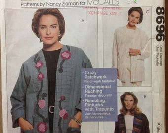 McCalls 8696 Cardigan Jacket Patterns by Nancy Zieman with Patchwork, Ruching or Pintucks - Size S M L XL