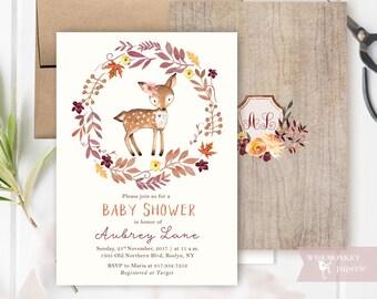 Fall Baby Shower invitation - Woodland Autumn invite - A little deer card -  Baby girl invitation - customizable digital printable DIY