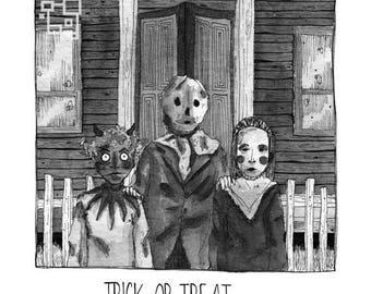 Trick or Treat - Inktober - Halloween - Print