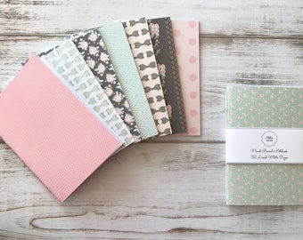 Pink Mint Gold Softcover Notebook Travel Notebook Journal Hand Bound Stationery 32 Lined White Pages *** Sold Individually ***