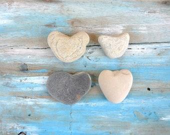 Heart Stones, 4pcs, Hearts, Heart Pebbles, Beach Stones, Beach Pebbles, Beach Finds, Stones for Crafts, Heart Shaped Stones