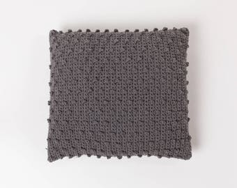 Crochet Dotted Cushion . Taupe Grey | Crochet Cushion | Throw Pillow | Pillow Case | Decorative Pillow | Accent Pillow | Sofa Cushion