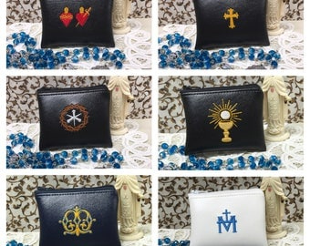 Rosary Pouch, Embroidered Vinyl, 9 designs, 4 colors