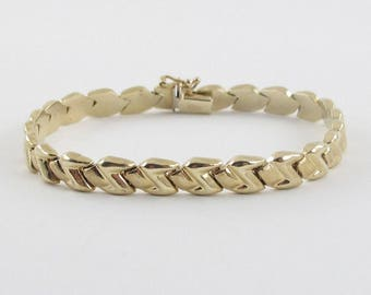"14k Yellow Gold Bracelet, 14k yellow gold Z Bracelet 7"" 8.9 grams"