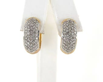 14k Yellow Gold Diamond Huggie Earrings 1.00 Carat - Yellow Gold Diamond Hoops
