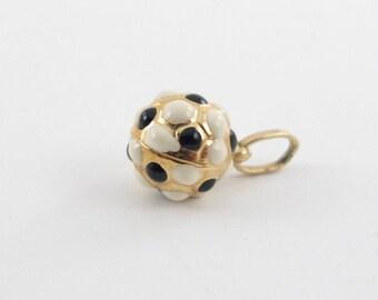 14K Yellow Gold Soccer Ball Charm Pendant - Black And White Enamel