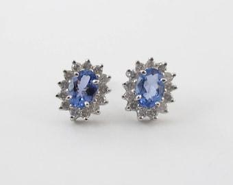 Diamond And Tanzanite Stud Earrings 14K Yellow Gold Gemstones