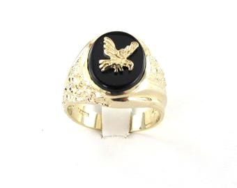 14k Yellow Gold Men's Onyx Ring Size 10 1/4 With Gold Eagle