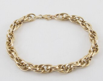 "14k Yellow Gold Braided Rolo Link Charm Bracelet 7 1/2"" 7.2 grams"