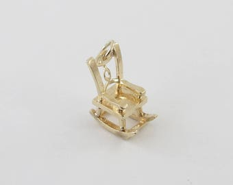 Vintage 14K Yellow Gold 3 D Rocking Chair Charm Pendant