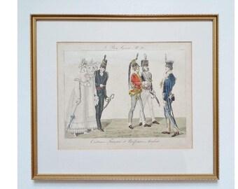 Le Bon Genre no 82 Antique French Hand Colored Tinted Original Fashion Print 19th Century French Costumes & English Uniforms