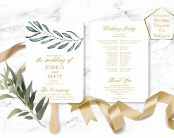 Greenery Wedding Program Fan Template, Olive Tree Wedding Program, Instant Download wedding program template