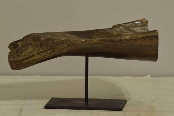 Papua New Guinea Canoe Crocodile Prow Iatmul Wood Ancestor Crocodile Canoe Prow