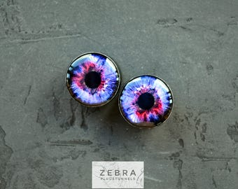 Pair eyeball image ear plugs wooden tunnels 4,5,6,8,10,12,14,16,18,20,22,25-60mm;6g,4g,2g,0g,00g;1/4,5/16,3/8,1/2,9/16,5/8,3/4,7/8,1 1/4,1""