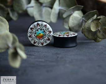 Pair plugs Geometric mandala image ear wood gauges 6,8,10,12,14,16,18,20,22,24-60mm;6g,4g,2g,0g,00g;1/4,5/16,3/8,1/2,9/16,5/8,3/4,7/8,1 1/4""