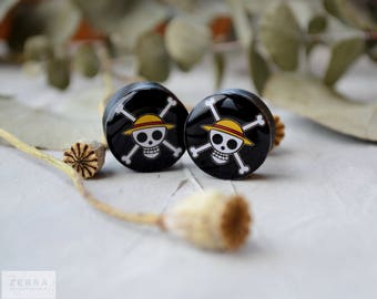 Pair plugs One Piece image wooden ear tunnels,4,5,6,8,10,12,14,16,18,20,22-60mm;6g,4g,2g,0g,00g;1/4,5/16,3/8,1/2,9/16,5/8,3/4,7/8,1 1/4,1""