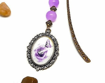 Bookmark bronze jewelry, butterfly on purple tone pink cabochon