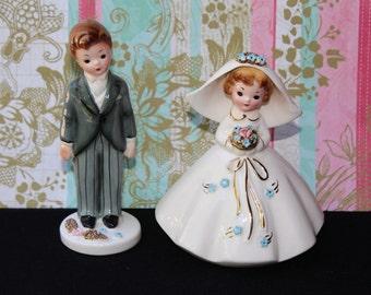 "Vintage JOSEF ORIGINALS Bride & Groom ""Bridal Group"" Series Wedding Cake Topper"