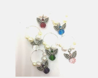 Angels with Colored Glass  Bodies Wine Charms x6
