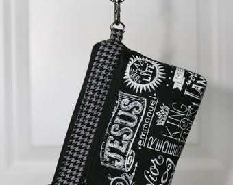 On The Go Wristlet - Christian theme, names for Jesus, - removable wrist strap, optional crossbody strap - inside card slots
