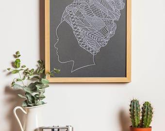 African Wall Art / African Art / Papercutting Art / African Woman / African Woman Art / African Beauty / Black Woman Art / African Decor