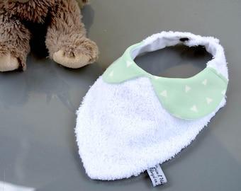 Green bandana bib with water triangle bib for baby, baby food, collar claudine triangle