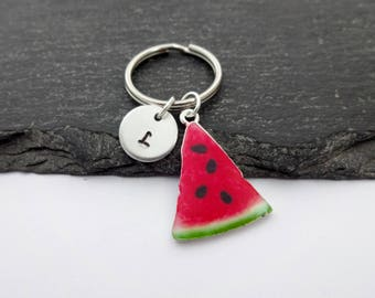 Watermelon Keyring, Hand Stamped Keyring, Charm Keyring, Watermelon Keychain, Fruit, Initial Keyring, Personalised Keyring, Watermelon Gift